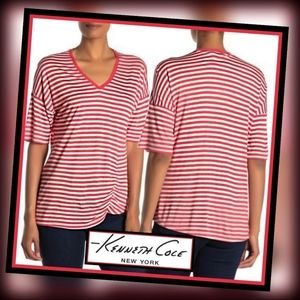 Kenneth Cole New York Striped V-Neck Ruched TEE